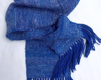 Handspun Handwoven Royal Blue Merino Wool and Silk Scarf for Men and Women