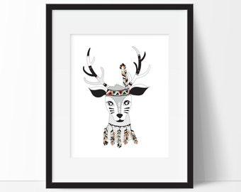 Tribal Deer Art Print - Tribal Decor - Deer Woodland Nursery Print - Forest Animal Print - Deer Print - Nursery Room Decor - Animal Nursery