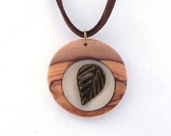 Jewelry Pendant Necklace, Olive Wood, Suspended Bronze Leaf, Gift for her, Gift under 30USD