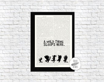 WILD THING PRINT, Book Page Print, Wild Print, Where the Wild Things Are, Dictionary Print, Encyclopedia Page Print, Up-cycled, Book Print