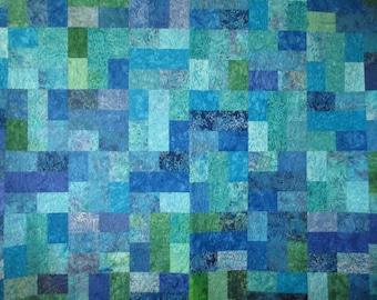 Batik Quilt in Blues and Greens Full Queen OOAK