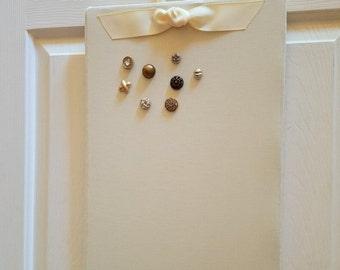 "Magnetic Board, Bulletin Board, Magnet Board, Fabric Magnetic Board, Magnetic Bulletin Board, Memo board, Wedding Photo Display, 18"" x 12"""