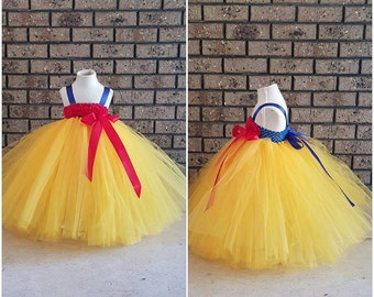 Blue Yellow Tutu Dress -  Handmade Snow white inspired Costume with Red Hair Bow