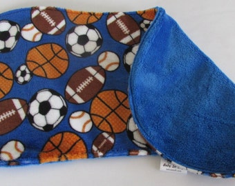 Burp Cloth - Sport Balls Burp Cloth - Minky Burp Cloth - Modern Burp Cloth