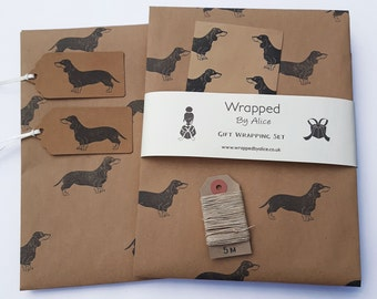 Sausage Dog Gift Wrap Set: 2 Sheets Dachshund Kraft Wrapping Paper, 2 Gift Tags, 4 Stickers, 5m Hemp Twine.