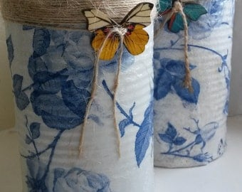 Blue Rose Upcycled Decoupage Cottage Chic Style Tins