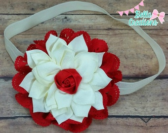 red and ivory headband, Christmas headband, baby headband, infant headband, rose headband, Christmas dress headband, photo prop, newborn