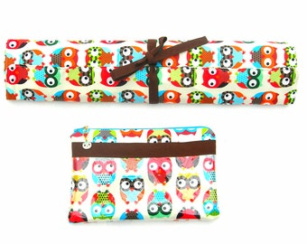 Knitting Needle Organizer. Knitting needle roll. DPN organizer. Knitting notions pouch. Owl fabric needle roll. Sewing notions pouch