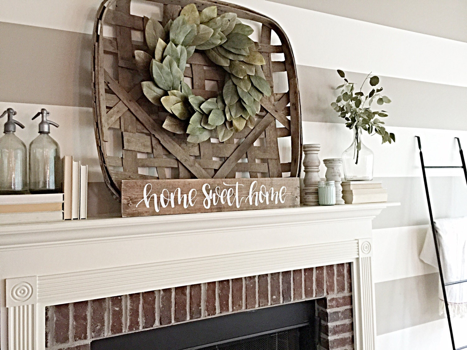 Home Sweet Home Sign Rustic Home Decor Fireplace Decor