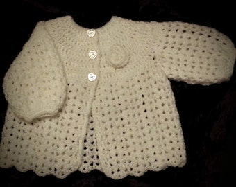 Instant download - Baby Vintage Style Crochet Cardigan, Matinee Jacket Pdf pattern
