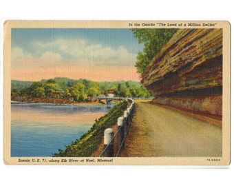 Missouri Ozarks vintage linen postcard | Elk River | US Highway 71 near Noel Missouri | 1930s MO travel postcard | Ozark Mountains postcard