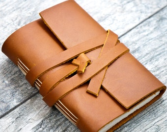 50% OFF - Saddle Tan Brown Leather Personalized Premium Journal Sketchbook Notebook