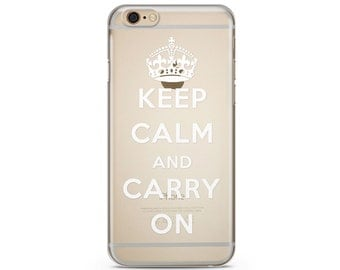 Keep Calm And Carry On Clear iPhone Case, iPhone 6 plus clear case Transparent iPhone Case, iphone 7 case, iphone 7 plus case