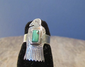 Vintage Sterling Silver Thunderbird Ring, Turquoise and Silver, Native American Jewelry