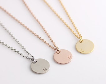 Disc Initial Necklace, Dainty Disc Necklace, Monogram Name Initial Necklace,  Bridesmaid Gift, Birthday Gift, Wedding Gift
