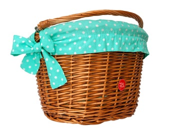 Classic Wicker Bike Basket with liner Polka Mint, Bike Belle