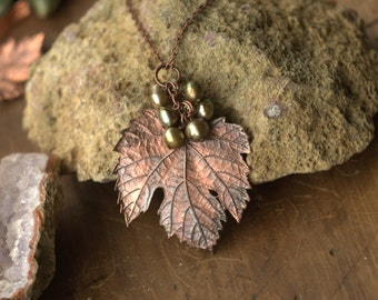 Electroformed grape leaf ,pearl necklace,copper electroform leaves, electroplated real leaf, nature inspired botanical jewelry
