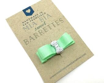 Mint Green Rhinestone Hair Clip Barrette