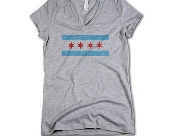 Chicago Vintage Women's V-Neck S-2XL Chicago Flag