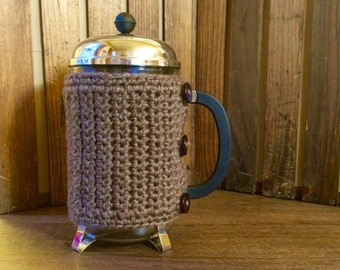 French Press Cover / French Press Cozy / Coffee Lover Gift - Mammoth Cave Taupe Gray
