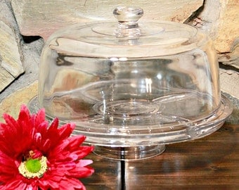 3 in 1 Cake Stand, Punch Bowl, Covered Chip and Dip, Covered Appetizer Tray, Party Platter, Serving Dish, Housewarming Gift, Wedding Gift