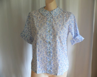 1950's 1960's Floral Print Blouse by Ship'nShore NOS, 1950s Summer Blouse