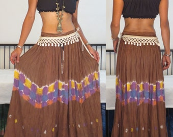 ETHNIC BOHO VTG 70's Indian cotton gazue tiedye maxi hippie gypsy sheers maxi skirt