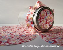 """Cotton Circles Handmade Jam Jar Covers Mason Gift Jar Toppers One Set of 12 Choose Your Size:  5.5"""" or 6.5"""" Cotton Circles"""