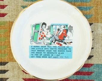 Prince William ware o hubby cheeky plate cartoon dish made in England