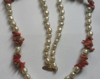 Miriam Haskell baroque pearl raw coral necklace