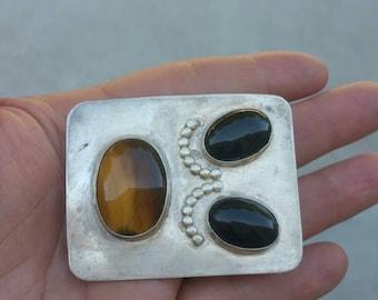 Unmarked sterling onyx tigers eye belt buckle
