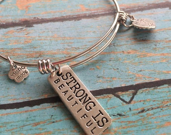 Strong is Beautiful Charm Bracelet, Bangle Bracelet, Bangle Charm Bracelet, Stacking Bracelet, Expandable, Stackable, Dangle Charm