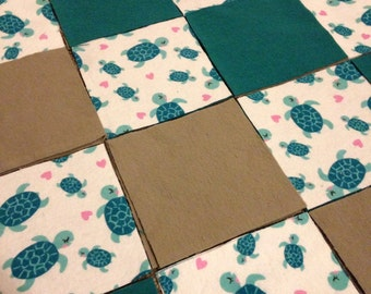 KIT or PRE-BUY Car Seat Cover/Canopy or Quilt - Teal & Grey Turtles Print - Cotton Flannel Rag Quilt