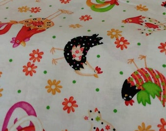 Pecking Order on White from Quilting Treasures cotton fabric