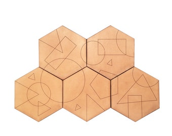 Abstract Leather Coasters / Geometric Coaster Set / Handcrafted in Portland, Oregon / Made in USA