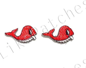 Set 2 pcs. Orange-Red Whales - Fishes - Cute Patches New Sew / Iron on Patches Embroidered Applique Size 3.3cm.x1.8cm.