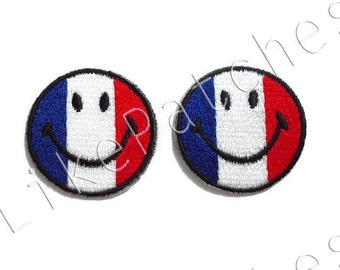 Set 2pcs. French Flag - Flag of France Happy Smiley Face New Sew / Iron On Patches Embroidered Applique Size 3.1cm.x3.1cm.