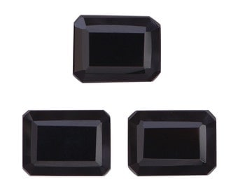 Thai Black Spinel Octagon Cut Loose Gemstones Set of 3 1A Quality 8x6mm TGW 5.75 cts.