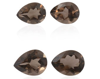 Brazilian Smoky Quartz Loose Gemstones Set of 4 Pear Cut 1A Quality 2-9x7mm and 2-8x6mm TGW 4.45 cts.