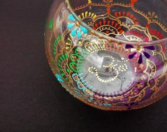 Chakras candleholder, Meditation Candleholder, Glass Votive candleholder