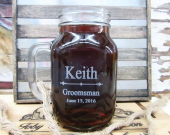 Set Of 4 Personalized Wedding Mason Jar With Handle Groomsmen Gift Ideas Rustic