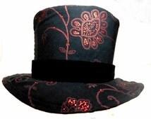 Steampunk Top Hat, Circus Ringmaster, Magicians Black Top Hat, Mens Formal Wear, Pimp Top Hat, Tuxedo Hat, Groom Wedding Hat, King hat, Fun