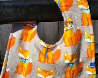 Cute Foxes/Colorful Diamonds Reversible Baby Bib, Cute Baby Bib, Fox Fabric, Boy Baby Bib,