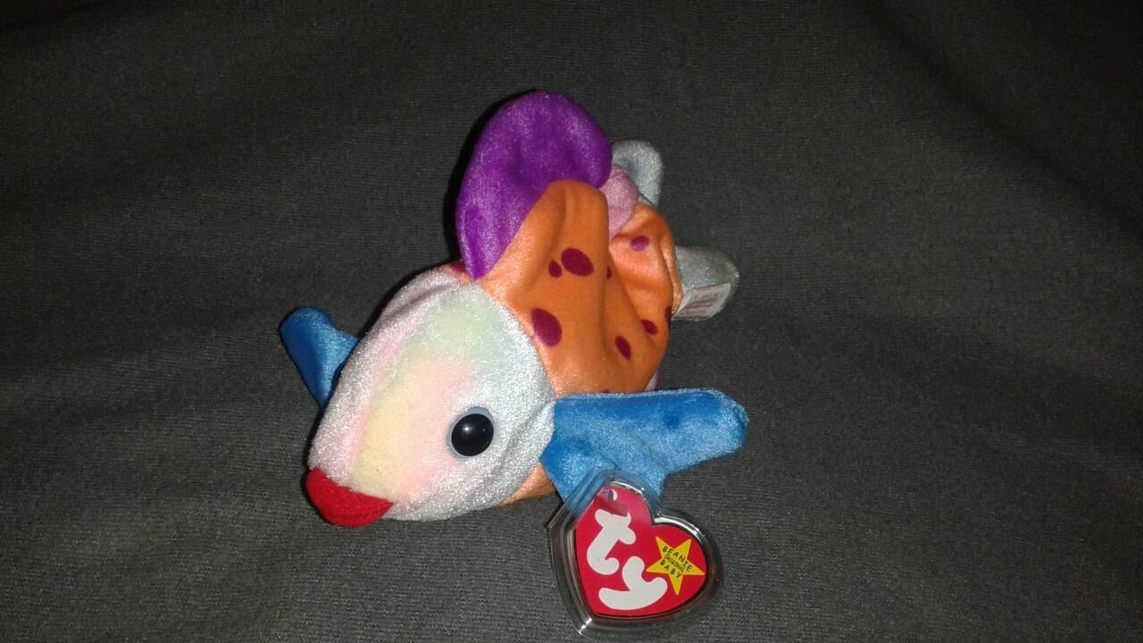 Lips fish ty beanie baby plush toy plush fish rare retired for Fish beanie baby