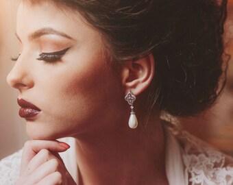 Art deco bridal earrings, filigree earrings, pearl bridal earrings, statement bridal earrings, pearl drop earrings