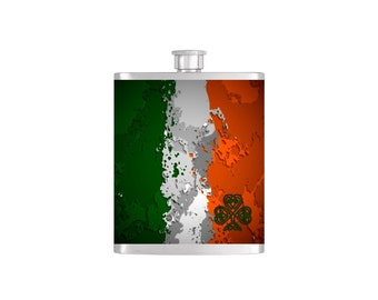 Celtic Shamrock and Irish Flag St. Patricks Day Flask with Funnel Stainless Steel 8 oz Liquor Hip Flasks - Flask #119
