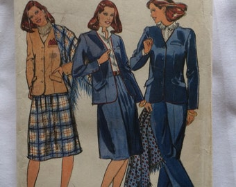 1980's Butterick pattern 3977 Misses Size 18 Suit, Pants, Skirt, Jacket & Shawl, Uncut