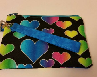 Colorful hearts crossbody bag or wristlet