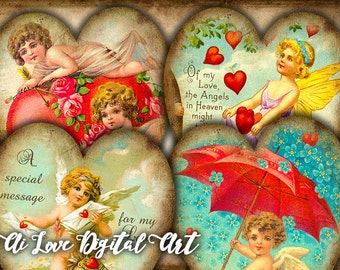 Heart tags instant download Vintage Love Cupids, digital collage sheet gift tags printable, digital images Valentines day card, scrapbooking