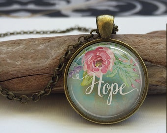 Hope necklace.  Inspirational word necklace. Word art pendant. Inspirational Jewelry (hope#1)